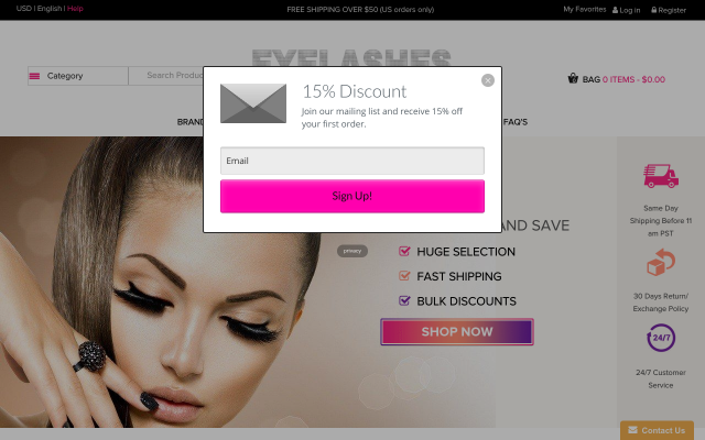 Get 15% False Eyelashes