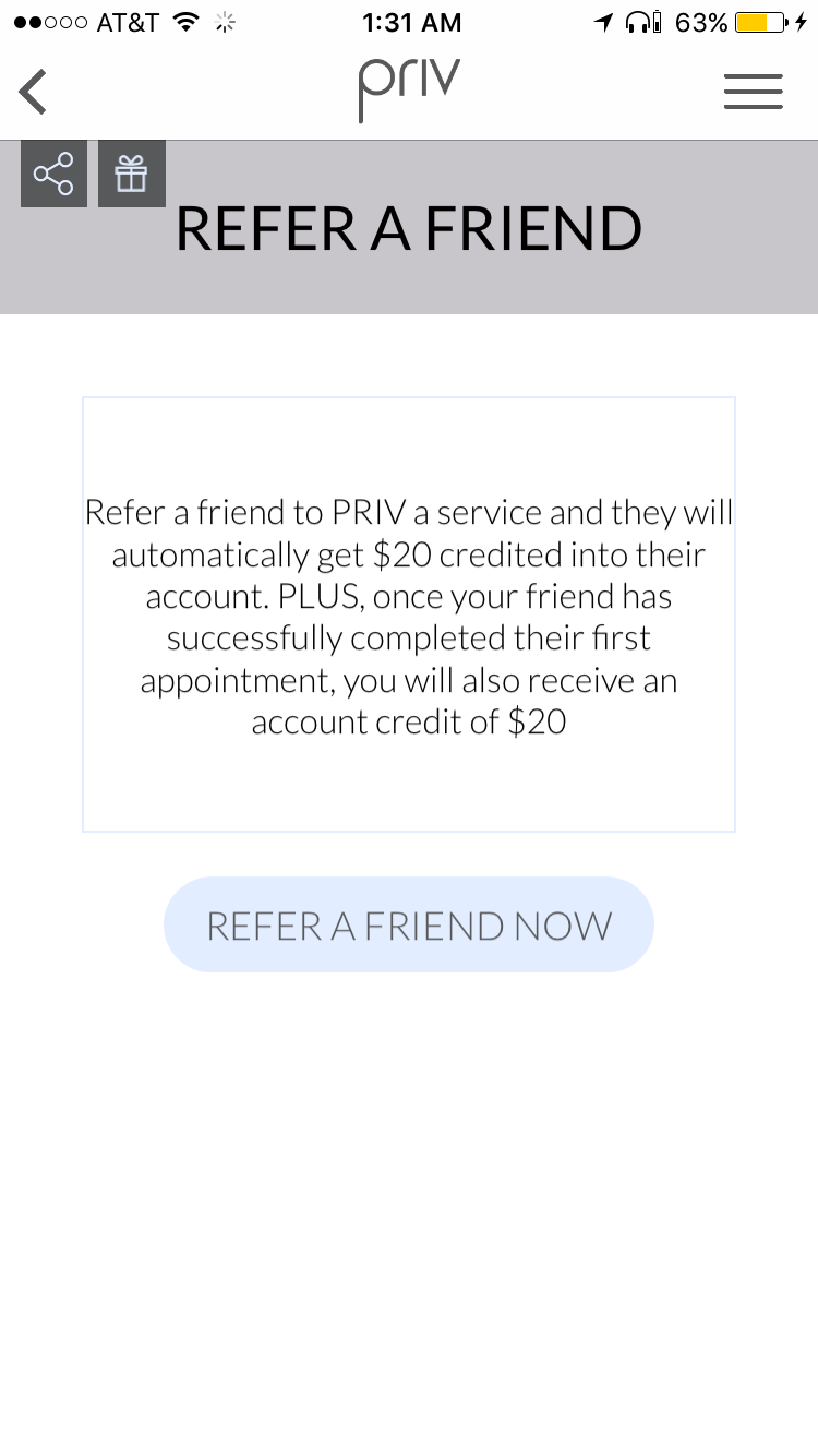 Get $20 toward your first in home beauty service from PRIV