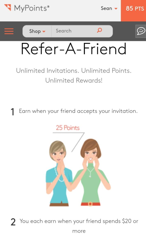 Earn 25 Points through MyPoints Rewards Program