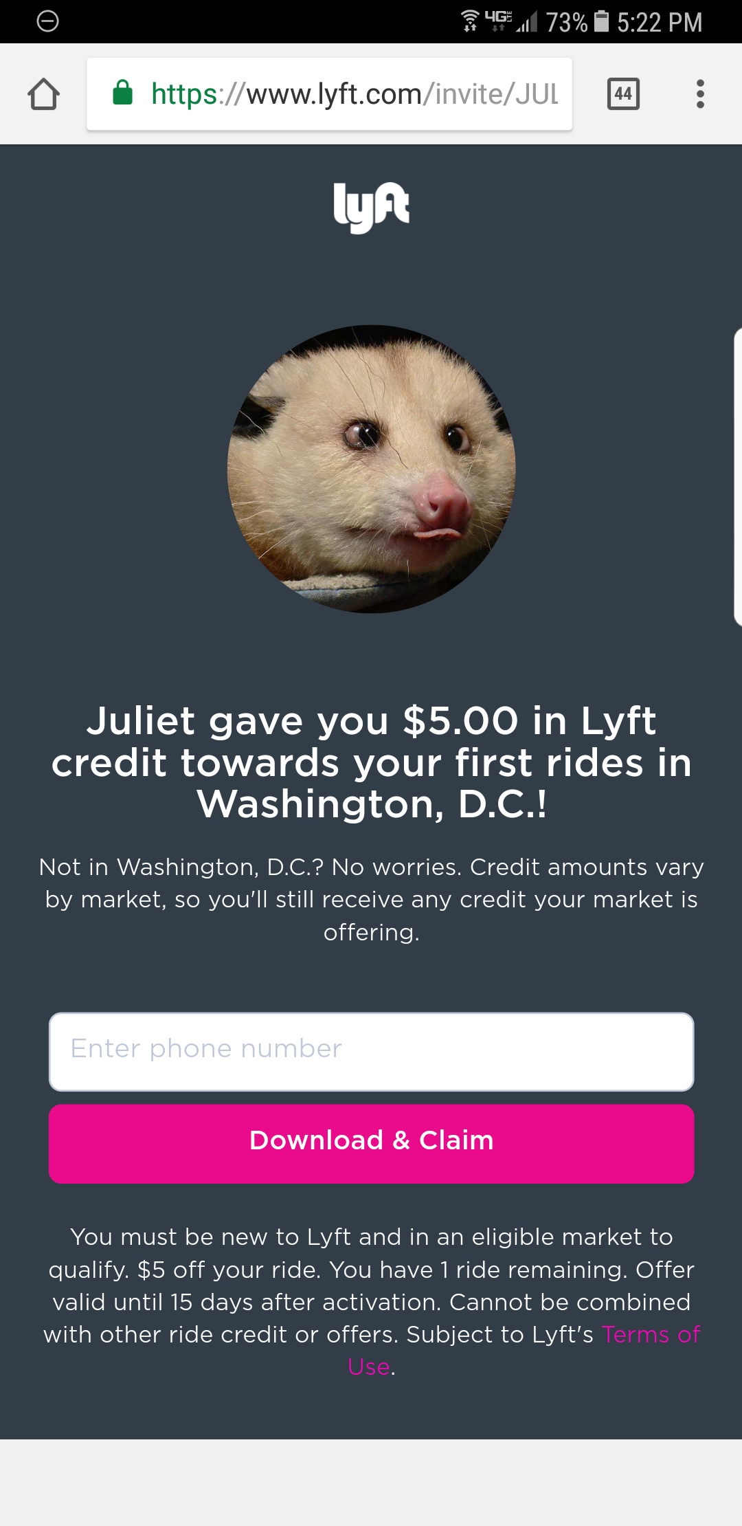 Join Lyft & Get a $5 Credit (for the DC area)