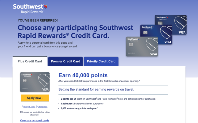 Apply for any Southwest airlines card and receive 40,000 to 50,000 miles for travel