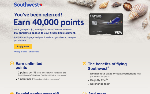 Earn 40,000 bonus Rapid Rewards points.