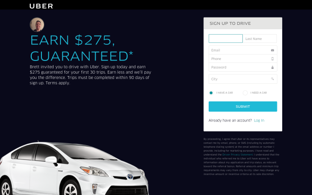 $275 Uber Driver Sign Up Bonues
