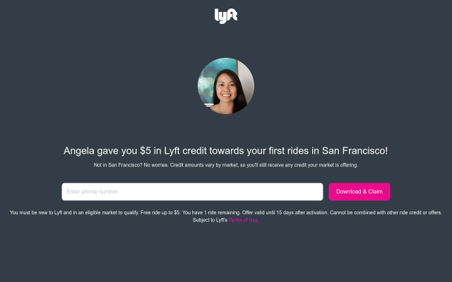 Get $5 Free credit when signing up for Lyft using this code!