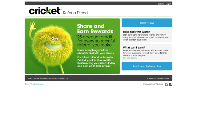 Get Cricket Wireless account Credit for $25 by activating new service using my referral link