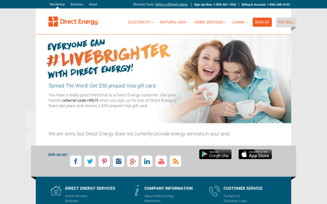 Receive a $50 Direct Energy bill credit after you sign up